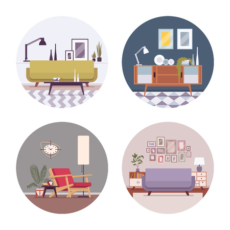 divan: Conjunto de interiores retro en un círculo con sofá cama, diván, lámpara de pie, wallclocks, fotos en un círculo. Vector ilustración de dibujos animados de estilo plana