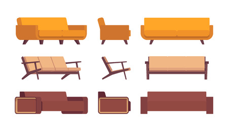 Set of retro sofas isolated against white background. Cartoon vector flat-style illustration