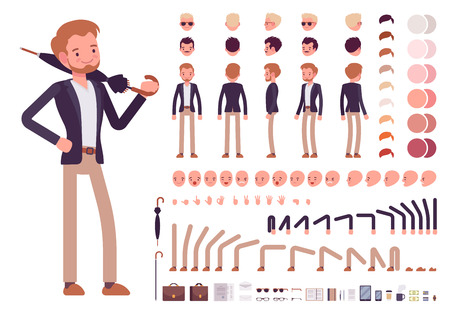 Smart casual male character creation set. Build your own design. Cartoon vector flat-style infographic illustration