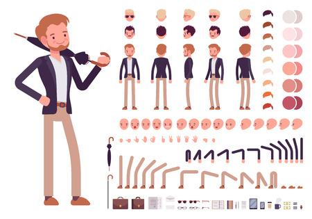 Smart casual männlicher Charakter Herstellungs Set. Bauen Sie Ihr eigenes Design. Cartoon-Vektor-flat-Stil Illustration Infografik