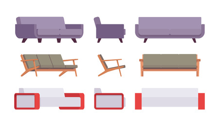 Set of sofas isolated against white background. Cartoon vector flat-style illustration