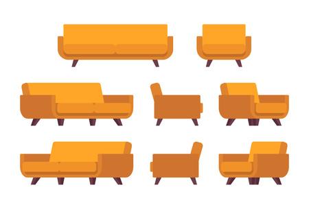 Set di divano giallo retrò e poltrona isolato su sfondo bianco. Cartoon vettore piatto in stile illustrazione Vettoriali