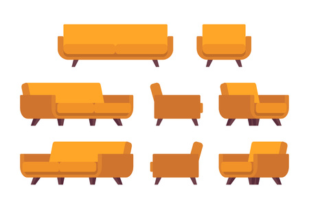 welcoming: Set of retro yellow sofa and armchair isolated against white background. Cartoon vector flat-style illustration