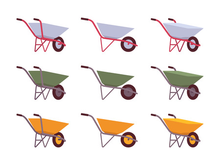 Set of grey, green, yellow wheelbarrows isolated against white background. Cartoon vector flat-style illustration