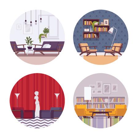 divan: Conjunto de interiores retro con sofá, diván, lámpara de pie, wallclocks, imágenes, estatua en un círculo. Vector ilustración de dibujos animados de estilo plana