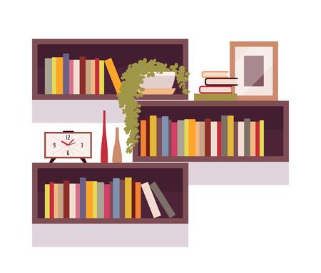Ensemble de bibliothèques rétro rectangulaires isolées sur fond blanc. Cartoon vector illustration à plat