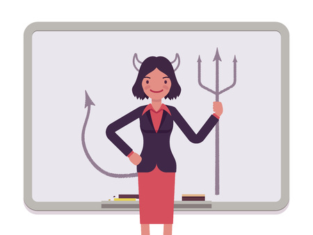 succubus: Woman against the whiteboard with drawn devil. Cartoon vector flat-style concept illustration