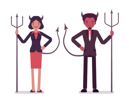 Pair of devils, man and woman isolated against white background. Cartoon vector flat-style illustration
