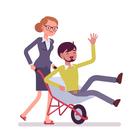 family gardening: Woman pushing a man in the wheelbarrow. Cartoon vector flat-style concept illustration
