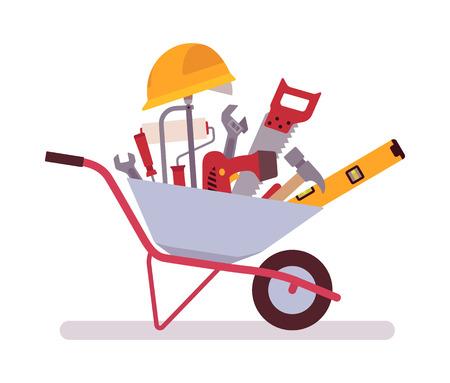 Wheelbarrow full of tools. Cartoon vector flat-style concept illustration Illustration