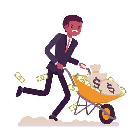Uomo d'affari che spinge una carriola piena di soldi. Illustrazione di concetto piano di stile vector cartoon Vettoriali