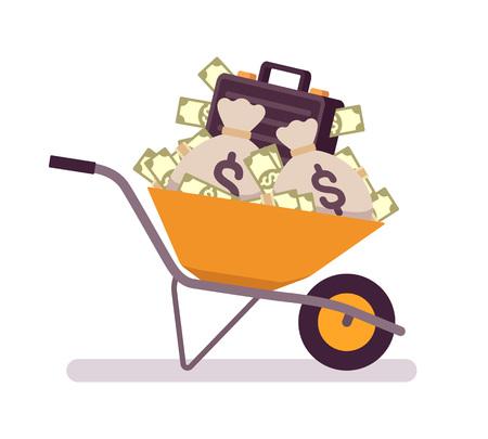 Wheelbarrow full of money. Cartoon vector flat-style concept illustration Illustration
