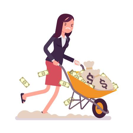 Empresaria empujando una carretilla llena de dinero. Vector de dibujos animados de estilo plano ilustración de concepto