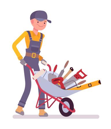 Worker with wheelbarrow. Cartoon vector flat-style illustration