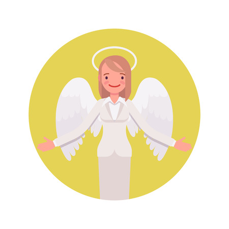 Angel woman in a yellow circle. Cartoon vector flat-style illustration