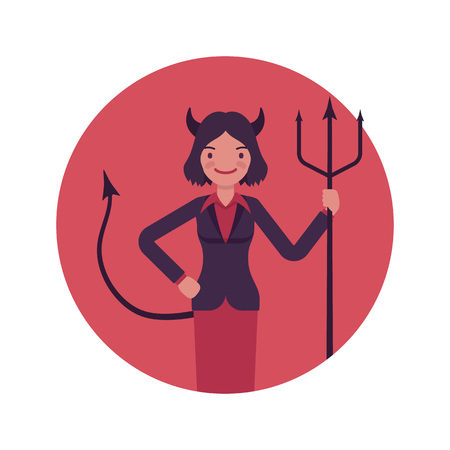 sins: Devil woman in a red circle. Cartoon vector flat-style illustration