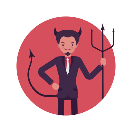Devil man in a red circle. Cartoon vector flat-style illustration Illustration
