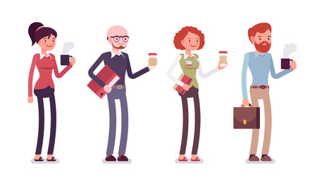 Set van mensen in een vrijetijdskleding met koffie, map, tas, mok. Cartoon vector flat-stijl illustratie