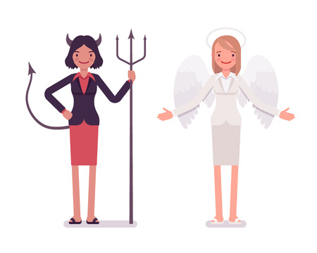 succubus: Set of female angel and devil in a formal wear. Cartoon vector flat-style illustration Illustration
