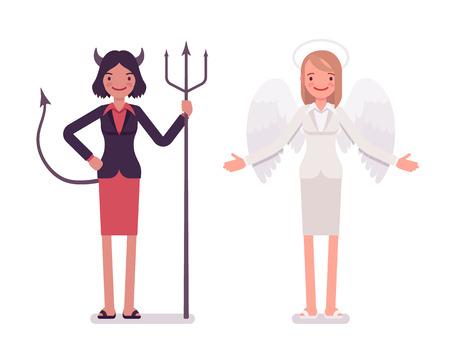 Set of female angel and devil in a formal wear. Cartoon vector flat-style illustration Illustration