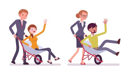 family gardening: Set of business people pushing men in the wheelbarrow. Cartoon vector flat-style illustration
