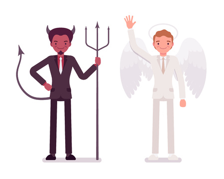 horny: Male angel and devil in a formal wear. Cartoon vector flat-style illustration