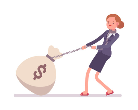 money sack: Businesswoman dragging a giant heavy money sack on a chain. Cartoon vector flat-style concept illustration Illustration