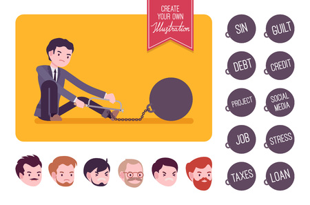 Businessman chained with a giant metall weight trying to escape, sawing. Build your own illustration. Cartoon vector flat-style infographic illustration