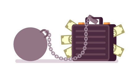 Case full of paper money on a metal chain with a weight. Cartoon vector flat-style concept illustration