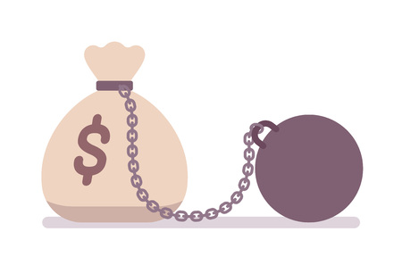 Big money sack on a metal chain with a weight. Cartoon vector flat-style concept illustration Vettoriali