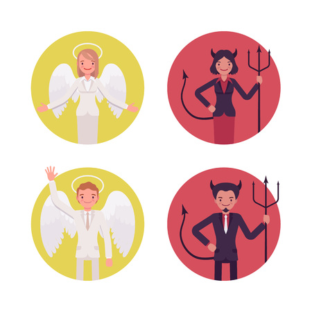 Set of male and female angel, devil in circles, isolated agains white background. Cartoon vector flat-style illustration Illustration
