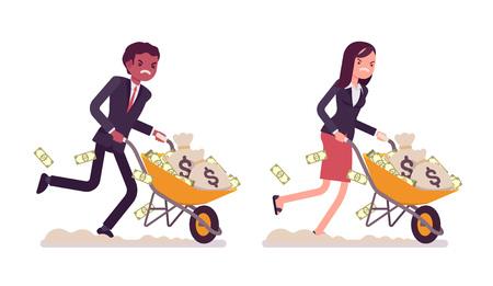 quick money: Set of business people pushing wheelbarrow full of money. Cartoon vector flat-style illustration Illustration