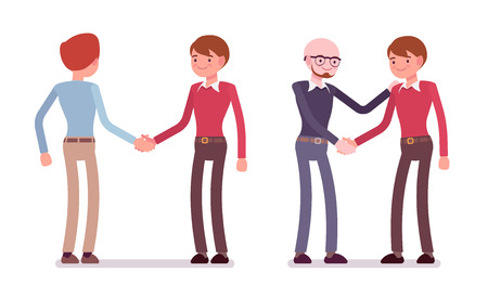 pairs: Set of male characters in a casual wear handshaking in pairs. Cartoon vector flat-style illustration
