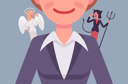 succubus: Angel and devil on the woman shoulders, suggesting. Cartoon vector flat-style concept illustration Illustration