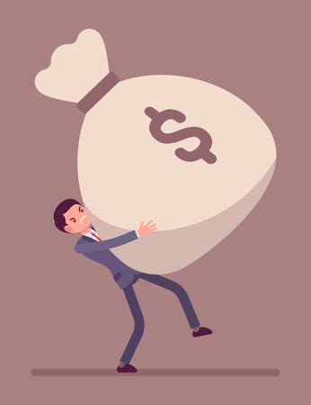 Empresario arrastrando un saco de dinero gigante pesado, la tensión en su rostro. vector de dibujos animados al estilo de ilustración del concepto plana