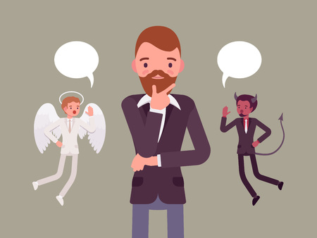 hovering: Angel and devil hovering over a thinking man, trying to make a choice, dialogue bubbles above. Cartoon vector flat-style concept illustration