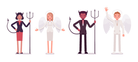 succubus: Set of male, female angel and devil in a formal wear standing in a line. Cartoon vector flat-style illustration Illustration