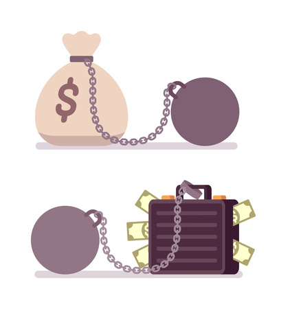 Case full of money and money sack on a metal chain with weight. Cartoon vector flat-style illustration Illustration