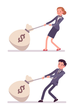 money sack: Set of businessman and businesswoman dragging a giant heavy money sack on a chain. Cartoon vector flat-style concept illustration Illustration