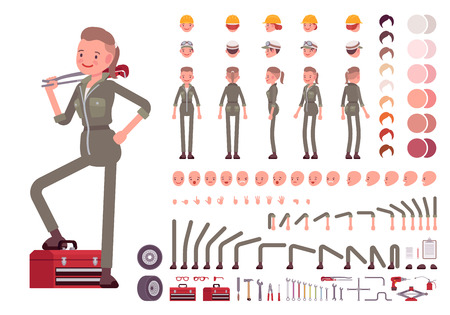 skin tones: Female mechanic character creation set. Build your own design. Cartoon vector flat-style infographic illustration
