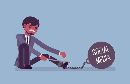 Businessman chained with a giant metall weight with a title Social Media trying to escape, sawing. Cartoon vector flat-style concept illustration