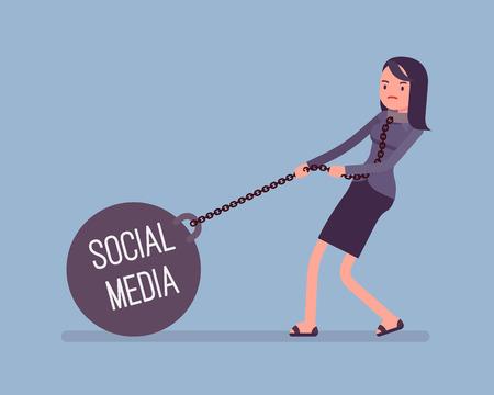 obey: Empresaria arrastrando un peso pesado gigante en cadena, escrita medios de comunicación social en una bola. vector de dibujos animados al estilo de ilustración del concepto plana