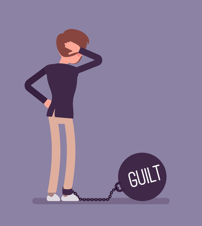 guilt: Businessman chained with a giant metall weight, written Guilt on a ball, thinking the problem over, scratching his head. Rear view. Cartoon vector flat-style concept illustration