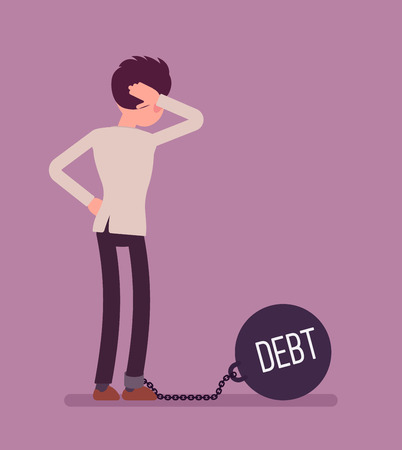 over weight: Businessman chained with a giant metall weight, written Debt on a ball, thinking the problem over, scratching his head. Rear view. Cartoon vector flat-style concept illustration
