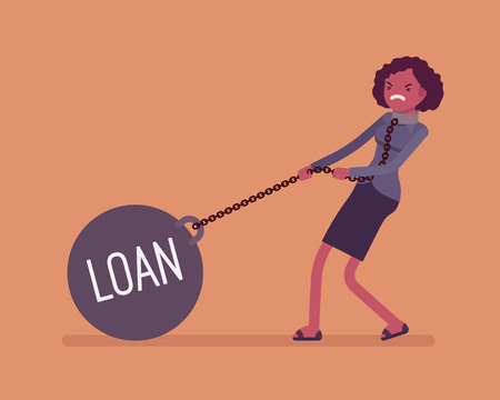 Businesswoman dragging a giant heavy weight on chain, written Loan on a ball. Cartoon vector flat-style concept illustration