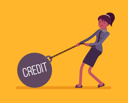 female prisoner: Businesswoman dragging a giant heavy weight on chain, written Credit on a ball. Cartoon vector flat-style concept illustration
