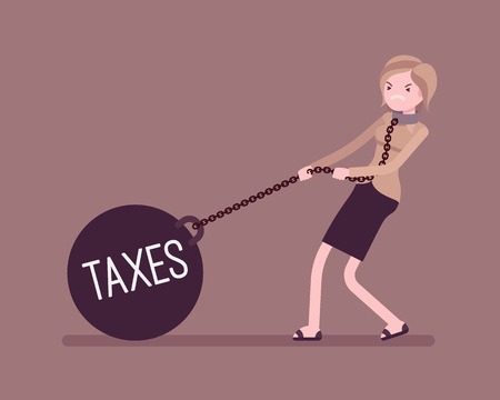 Businesswoman dragging a giant heavy weight on chain, written Taxes on a ball. Cartoon vector flat-style concept illustration Illustration