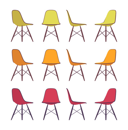 comfort classroom: Set of chairs shown from different positions, different colours. Cartoon vector flat-style illustration