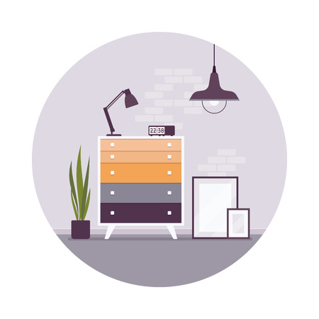 chest of drawers: Retro interior with a chest of drawers, pictures on the floor in a circle. Cartoon vector flat-style interior illustration, copy space for text or picture in the frame Illustration