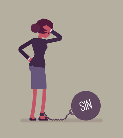 over weight: Businesswoman chained with a giant metall weight, written Sin on a ball, thinking the problem over, scratching her head. Rear view. Cartoon vector flat-style concept illustration Illustration